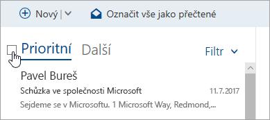 Snímek obrazovky s oknem kontrolu nad seznamem zpráv