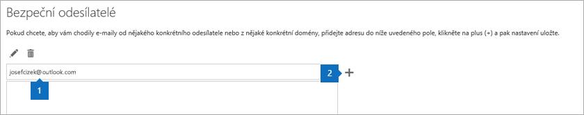 Snímek obrazovky stránky Bezpeční odesílatelé.