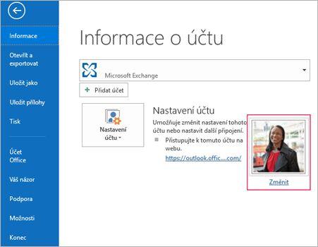 Změna fotky odkazů v aplikaci Outlook