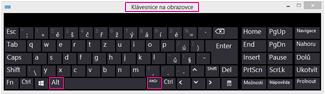 Klávesnice na obrazovce ve Windows8 s klávesami Alt