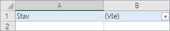 Kliknutí na šipku rozevíracího seznamu vedle položky (Vše)