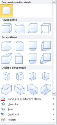 Možnosti prostorových efektů u objektu WordArt v Publisheru 2010