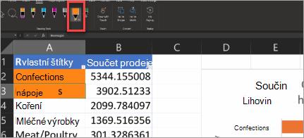 Zobrazuje akční pero v Excelu