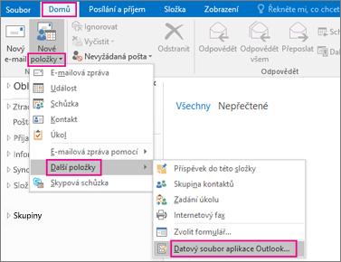 Vyberte Nové položky > Další položky > Datový soubor aplikace Outlook.