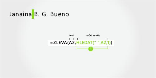 Vzorec pro oddělení jména, příjmení a dvou iniciál prostředního jména