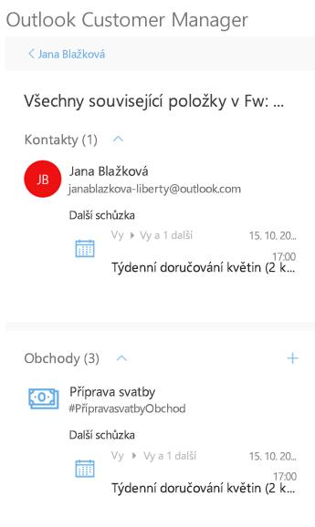 Zobrazení všech souvisejících aktivit kontaktu