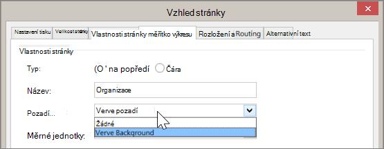Snímek obrazovky vzhledu stránky > vlastnosti stránky s Verve pozadím vybraným z rozevírací nabídky pozadí