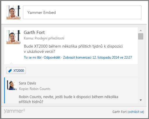 Snímek obrazovky vložení Yammeru
