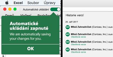Pás karet Excelu s bublinou automatického ukládání na levé straně a seznam historie verzí na pravé straně