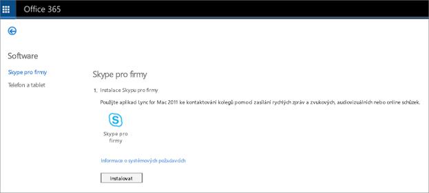 Obrázek stránky instalace, který uvidíte, pokud máte plán Online Skypu pro firmy