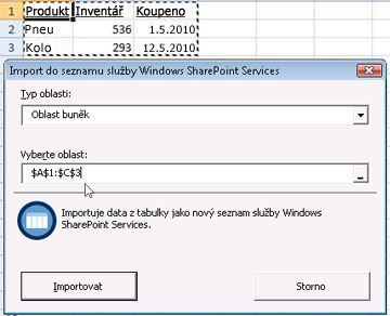 Import do seznamu služby SharePoint