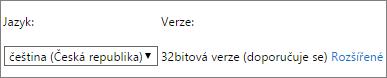 Snímek obrazovky s možností pro výběr jazyka a následně pro výběr možnosti Upřesnit