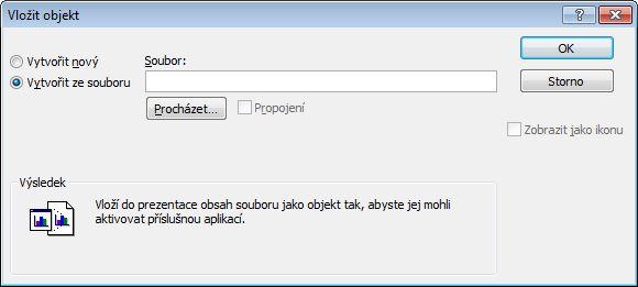Dialogové okno objekt, vytvořit ze vybraný soubor.