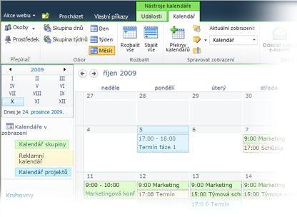 Použití více kalendářů ve službě SharePoint