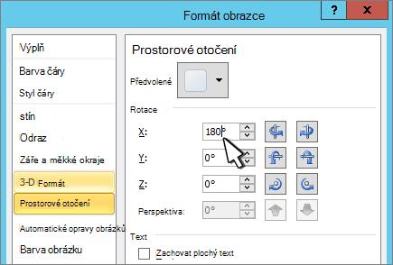 Dialogové okno Formát obrazce s vybranou položkou otočení 3D