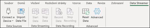 Panel nabídek doplňku Data Streamer v Excelu