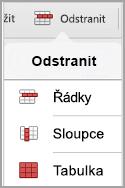 Nabídka pro odstranění tabulky iPad