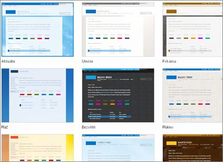 Stránka SharePointu Online, na které se zobrazují obrázky šablon webu