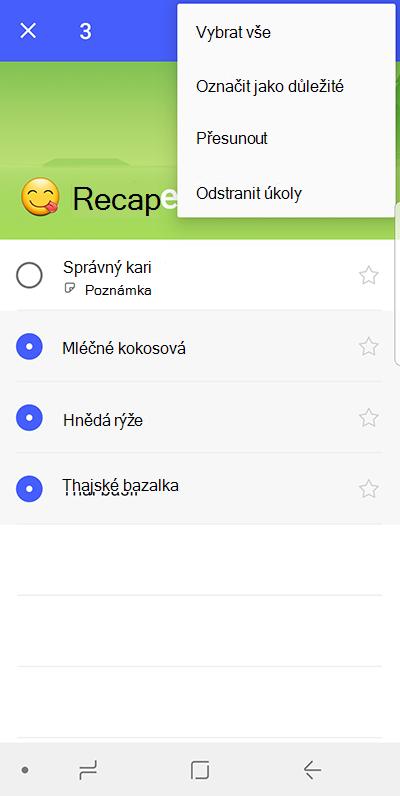 Snímek obrazovky s možností k přesunutí úkolů na Androidu