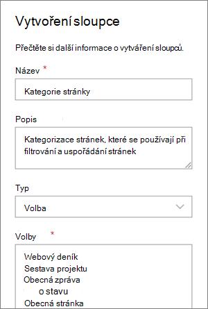 Příklad nastavení sloupce pro výběr kategorie pro blogy