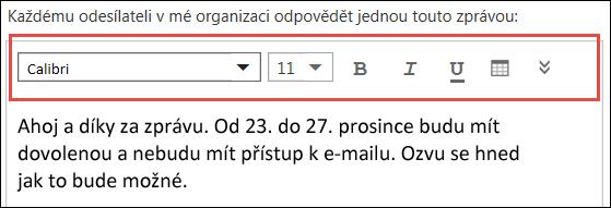 Outlook na webu: zpráva pro Automatické odpovědi