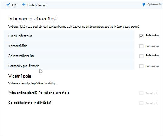 Snímek obrazovky: hlavní seznamem vlastní otázky.