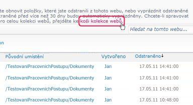 Odkaz Koš kolekce webů