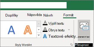Tlačítko alternativní text na pásu karet Excelu pro Windows