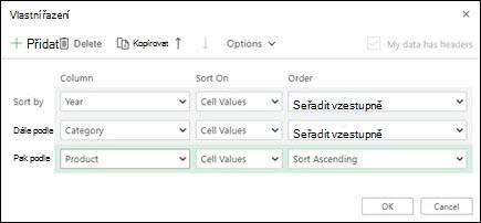 Vlastní řazení v Excel pro web z datového > řazení & filtru.