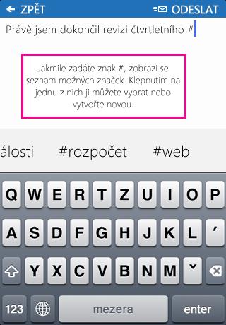 Snímek obrazovky pro přidání #značky do příspěvku v SharePointu Newsfeed