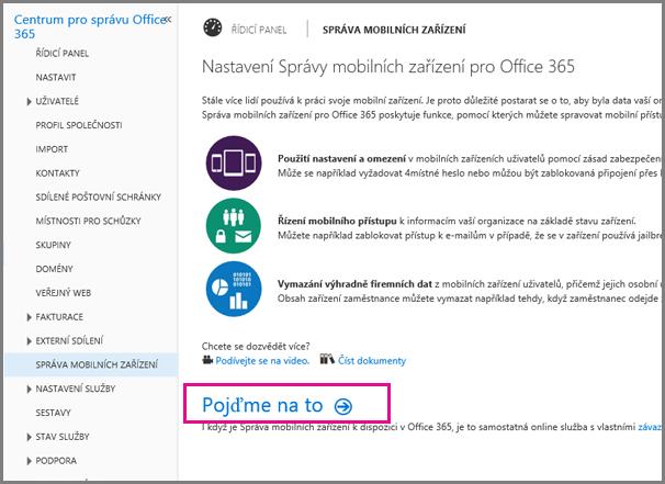 Nastavení Správy mobilních zařízení pro Office 365