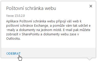 Odebrání poštovní schránky webu