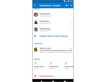 Stránka s podrobnostmi o skupině s možností snadného přístupu k souborům