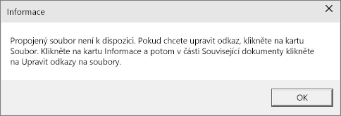 Zobrazuje chybu propojeného souboru v PowerPointu.