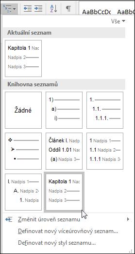 Pomocí víceúrovňového seznamu Nadpisy kapitol můžete formátovat nadpisy kapitol, které budou součástí titulků.