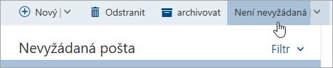 Snímek obrazovky na tlačítko není nevyžádaná pošta