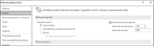 Snímek obrazovky s nastavením pro iterativní přepočet