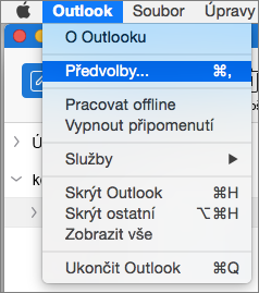 Nabídka Outlook se zvýrazněnou možností Předvolby