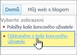 SharePoint odkaz úrovně Koš 2010 2.