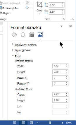 V podokně formát obrázku v doku na pravé straně okna aplikace Word