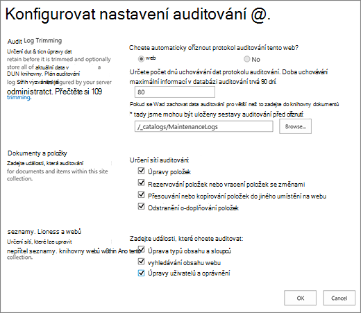 Obrazovku nastavení auditování kolekce webů