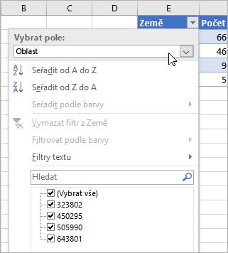 Nabídka Filtr, nabídka Zobrazit hodnotu, zobrazená pole z propojeného datového typu