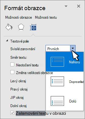 Panel formát obrazce se zvoleným svislým zarovnáním