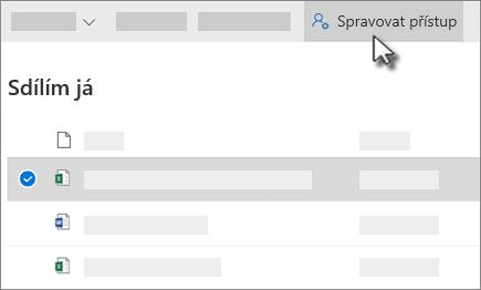 Snímek obrazovky s tlačítkem spravovat přístup v seznamu sdílené mnou zobrazit na Onedrivu pro firmy
