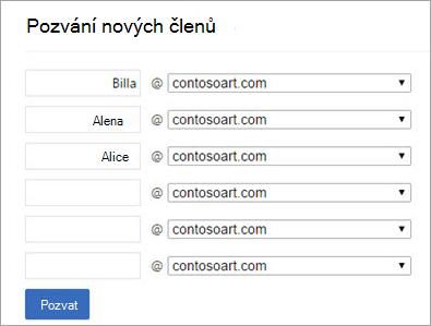Primární doména zobrazí, když pozvat uživatele do skupiny Yammeru
