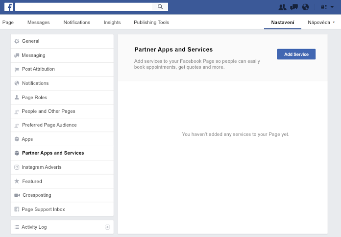 Podokno partnera aplikací a služeb