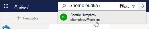 Snímek obrazovky s vyhledávacím panelem