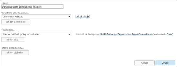 Snímek obrazovky: Vytvoření a uložení nového pravidla Prioritní doručené pošty