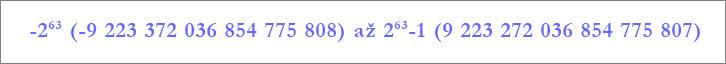 Rozsah datového typu Velké číslo