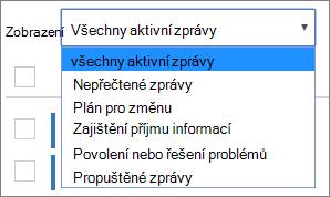 Centrum zpráv zobrazení rozbalenou nabídkou zobrazující filtry